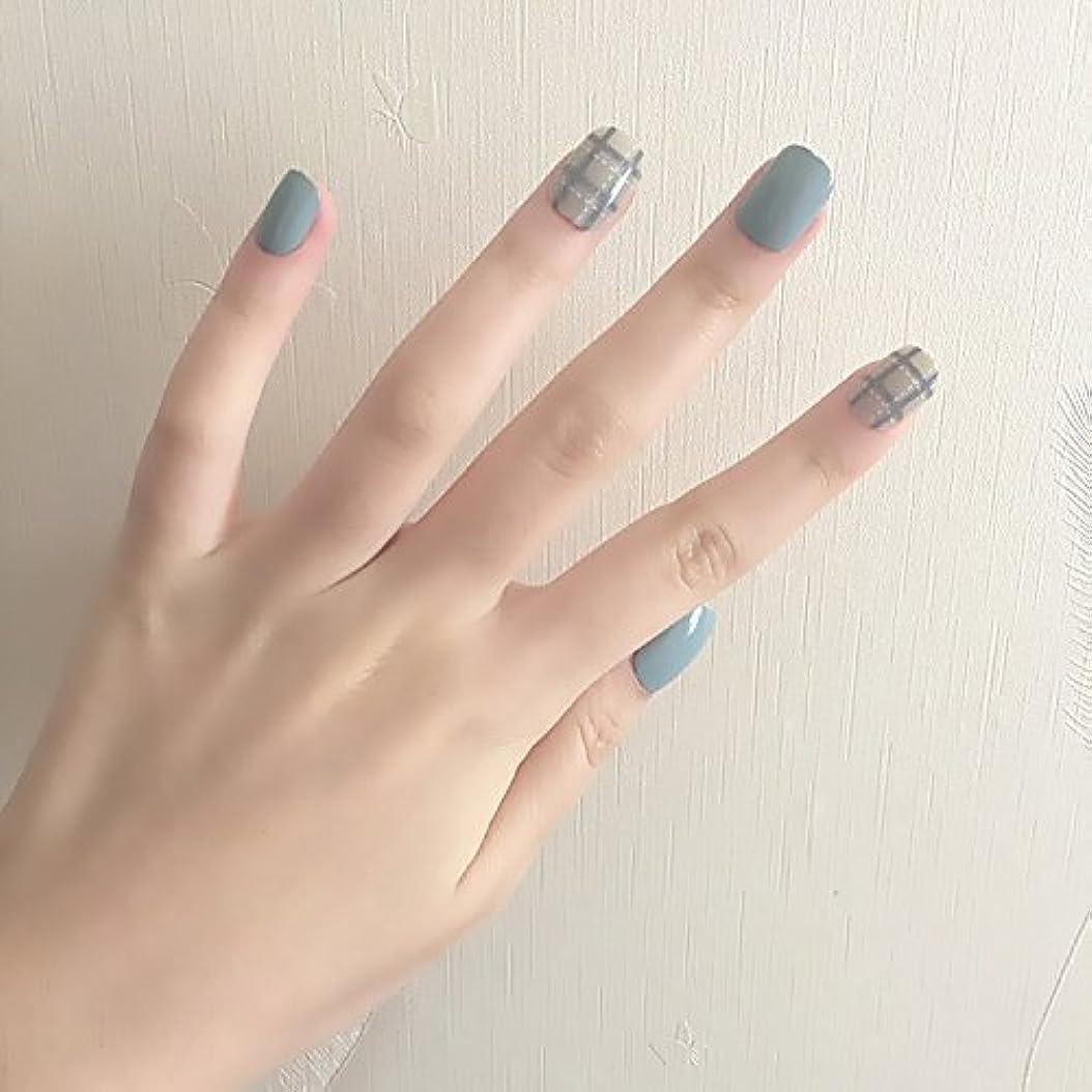 トランペットすき劇的ブルーグレー+白点線 ショートネイルチップ つけ爪 24枚貼り付け爪