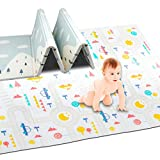 """Pauwer Reversible Baby Play Mat 71""""x78"""" Foldable Foam Padded Kids Playmat Double-Sided Crawling Mat Waterproof Non Slip Kids Play Rug Cushioned Floor Mat for Toddlers Infants Kids"""