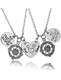 YeeQin 2PCs Best Friends No Matter Where Compass Necklace Set Heart BFF Friendship Necklaces