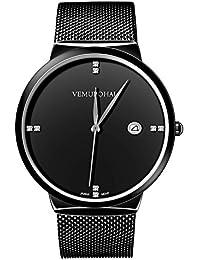 Vemupohal アナログ腕時計メンズ 超薄型 電量不足 日付付き 30M防水 クリスタル付き ドイツ強化ガラス ファッション時計 メッシュバンド 日本製電池(ブラック)