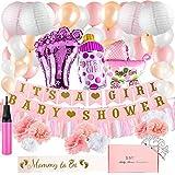 女の子用ベビーシャワーデコレーションキット:ピンク、ホワイト、シャンパンゴールドパーティー装飾 - 女の子用バナー、バルーン、ティッシュペーパーポン、吊り下げランタンデコレーションバンドル - サッシュとティアラ付き