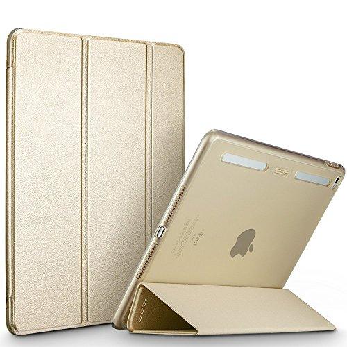 ESR iPad Mini4 ケース 【シリコンバンパー】簡単着脱 PUレザー スタンド機能 オートスリープ TPUバンパー・PCバック クリア 傷つけ防止 三つ折タイプ iPad Mini4(モデル番号A1538 A1550)専用スマートカバー(ゴールド)