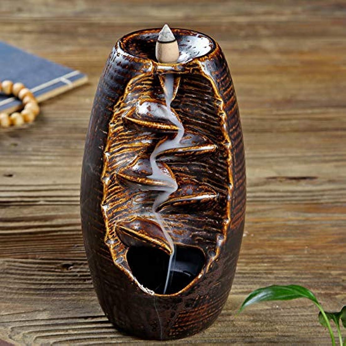 セラミック花瓶 スモークバック香炉 クリエイティブキルン 逆流アロマテラピー炉 家の装飾 ホームリビングルームの寝室のデスクトップの装飾