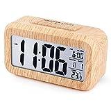 iwansデジタル 置き時計 LED 目覚まし時計 大音量 アラーム カレンダー付 温度表示 木目調 ナチュラル風(茶・白字)