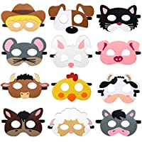 (Farm Party) - CiyvoLyeen Farm Animal Party Masks Barnyard Animal Felt Masks for Petting Zoo Farmhouse Theme Birthday Party Favours Kids Costumes Dress-Up Party Supplies(12 Pieces)