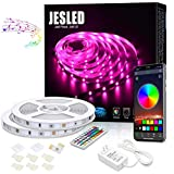 Bluetooth LED Strip Lights 10M, JESLED 5050 RGB Neon Lights with RF Controller, 300LEDs, Smart Rope Lights Sync to Music Apply for TV, Bedroom, Party and Home Decoration
