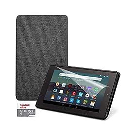 お買い得セット(Fire 7 タブレット32GB + 純正カバー チャコールブラック + 保護フィルム + SanDisk 64GB microSDHCカード)