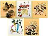 季節の色紙 年中シリーズ 5枚セット 四季 五節句 松浦青涛 季節を感じる色紙 縁起物 節句
