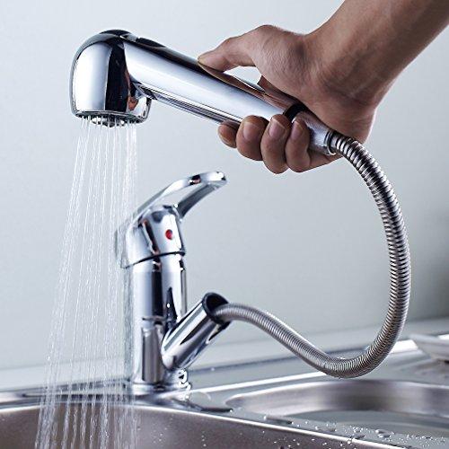 Auralum キッチン蛇口 洗面蛇口 引き出せる エコシングル水栓 シングルレバー混合栓 シャワータイプ 洗面水栓 2wayの吐水式