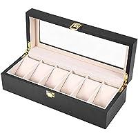 Watch Box, 6 Grids Watch Display Case Wooden Watch Holder Wristwatch Display Case Jewelry Gift Storage Box Organizer