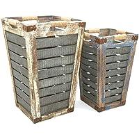 Jcook Home Decor 木製亜鉛バスケット 2個セット