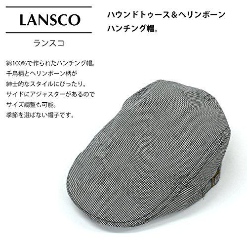 (ランスコ) LANSCO.VI. 全3柄 メンズ 綿 100% コットン マイクロ 千鳥 ハウンドトゥース 柄 ハンチング 帽 フリーサイズ カジュアル 帽子 cappello30 ネイビー 05