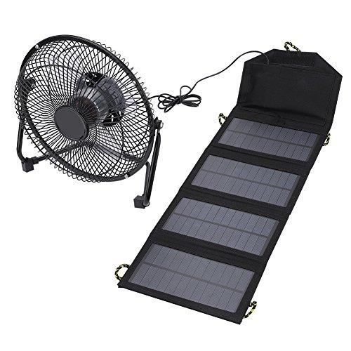 ソーラーファン 携帯扇風機 、7W 5.5V屋外ポータブルキ...