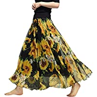 (Helostoma) ヘロストマ レディース マキシスカート 広幅 シフォンスカート 花柄 ロングスカート