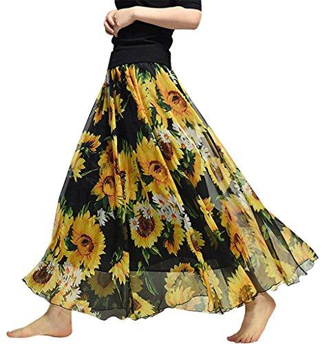(Helostoma) ヘロストマ レディース マキシスカート 広幅 シフォンスカート 花柄 ロングスカート 58#ひまわり 80cm
