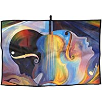 Shing Inner Melodyシリーズ上のカラフルな人間と音楽の図形の背景幕の件名Spirituality 224339824プレミアムゴルフタオル
