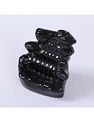 Kicode ブラック 滝の磁器の逆流 セラミックコーン 香炉 ホルダー仏教ホームオフィスデコレーション