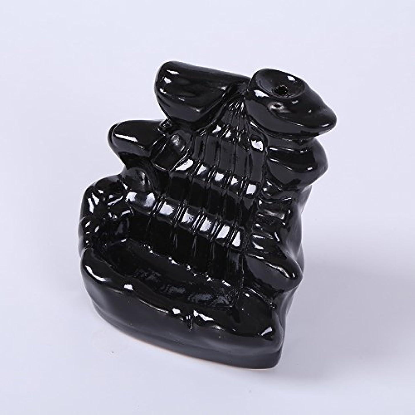 挽く誇張スポンジKicode ブラック 滝の磁器の逆流 セラミックコーン 香炉 ホルダー仏教ホームオフィスデコレーション
