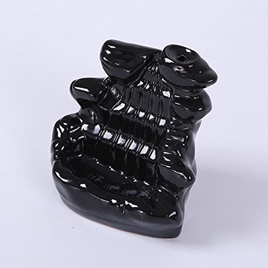 人間逆パノラマKicode ブラック 滝の磁器の逆流 セラミックコーン 香炉 ホルダー仏教ホームオフィスデコレーション