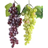 Ucoolbila 85pcs Artificial Grapes Home Decor Plastic Grapes Wedding Party Christmas Artificial Flora, Red + Green, Pack of 2