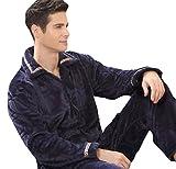 快売メンズ冬用厚手フランネルパジャマ長袖上下セットルームウェア前開き (XXL, カラー3)