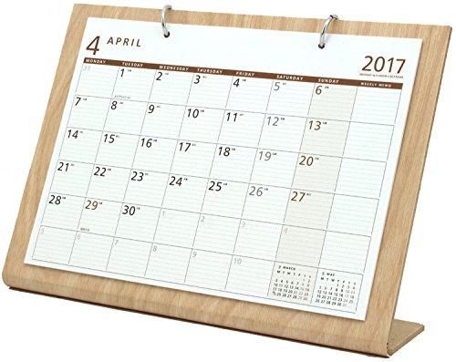 オーブ 2017年 カレンダー 4月始まり 卓上 シンプルウッド L ナチュラル WDS-900NT