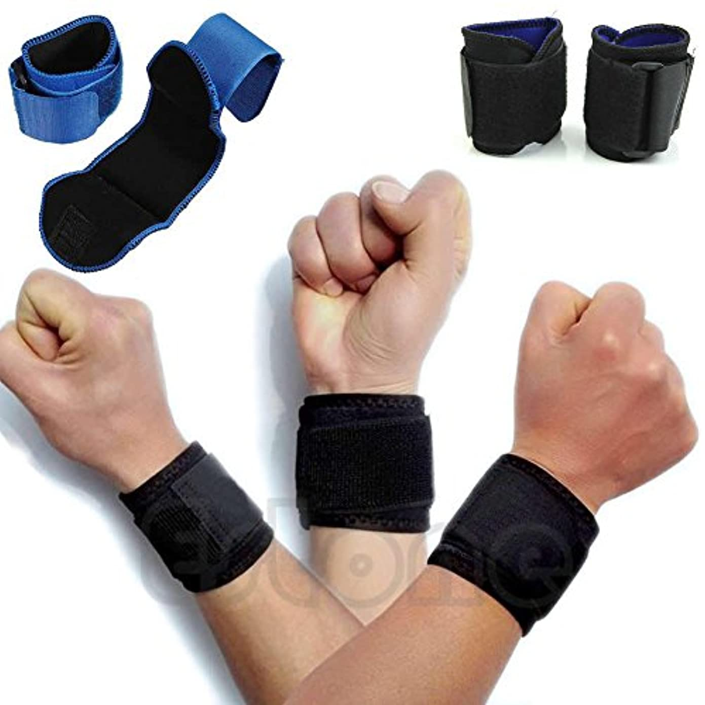 ぴったり以下コットン新 調節可 スポーツ用 手首 巻き付け 包帯 ジム支援 締付手首バンド 1カップル