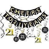 Tuoyi 21歳の誕生日パーティーデコレーションキット - 21歳のバナーに乾杯 輝くお祝い 21のぶら下がり渦巻き 21歳のパーティー用品 21周年記念デコレーション