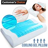 Memory Foam Pillow with Cooling Gel - Prevents Back and Neck Pain - Bamboo Washable Cover Infused w/Aloe Vera - for Back, Stomach and Side Sleepers - AIDS Cervical Pain and Soreness - Small