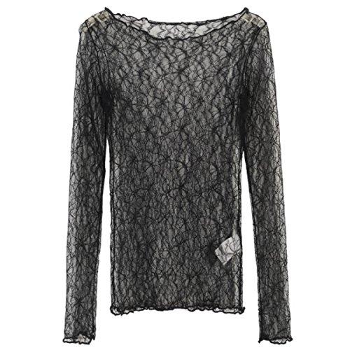 [해외]RONDEL - BLACK (론델 블랙) 시스루 니트 탑 레이어드 꽃 무늬 검정 블랙 긴팔 [네코뽀스 가능]/RONDEL-BLACK (Rondel black) see-through cut-top tops lap-on flower pattern black black long-sleeved [Neko Possible]