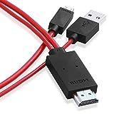 【PCATEC】MHLケーブル 2m スマホをTVに出力 Xperia ARROWS AQUOS PHONE 等対応(一部非対応あり) 給電用USB付 同時充電