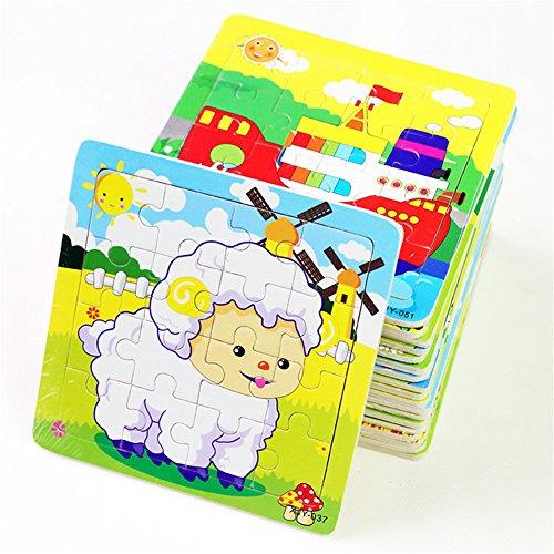 [해외]Deerbird® 나무 퍼즐 16 조각 유아 퍼즐 장난감 코끼리 팬더 강아지 리틀 램 자격 트레인 비행기 거위 소 타이거 요리사 안전 교육 학습 완구 (12 팩 각 16 개)/Deerbird® wooden jigsaw puzzle 16 pieces early childhood puzzle toy elephant pa...