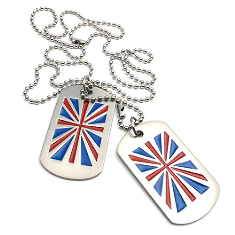 [テメゴ ジュエリー]TEMEGO Jewelry メンズ2個合金陸軍スタイルドッグタグイングランドの旗エンボスペンダントネックレスチェーンネックレス、ブルーレッドシルバー [インポート]
