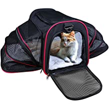 Airline Approved Pet Carrier, TAOTENK Foldable Dog Travel Carrier with Pocket and Removable Mat - Two Side Expandable Extra Spacious Soft Sided Animal Cat Carrier