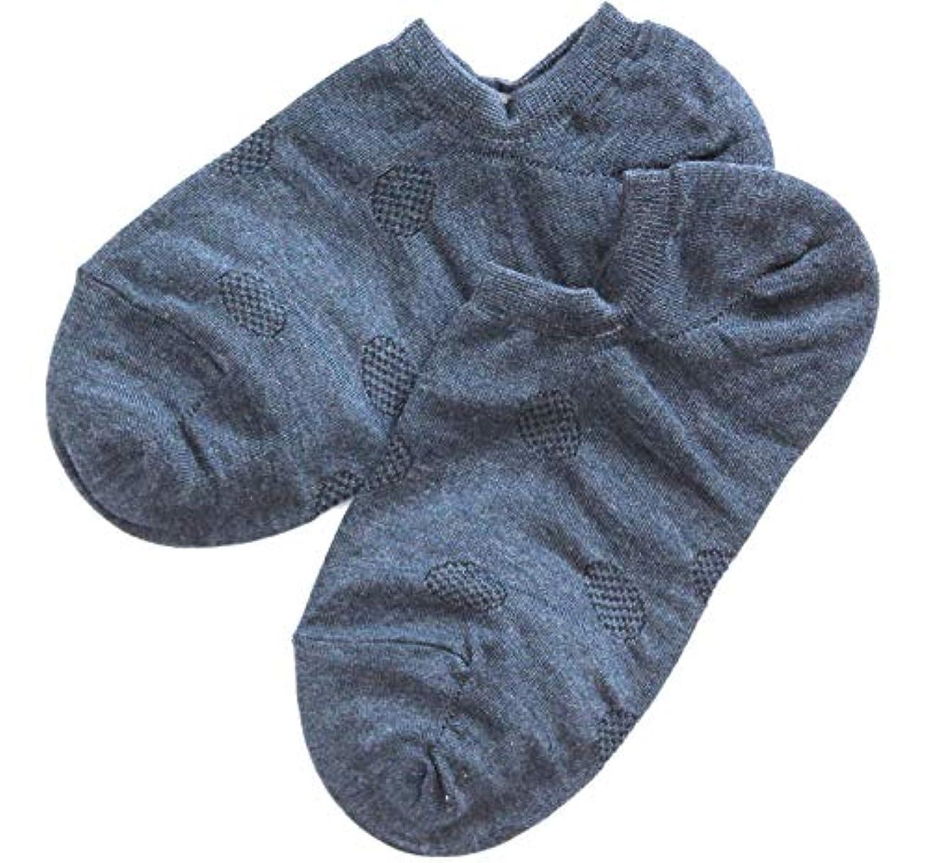 温むすび かかとケア靴下 【足うら美人カバーソックスタイプ 女性用 22~24cm ネイビー】 ひび割れ ケア 夏用