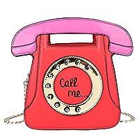ショルダーバッグ レディーズ 可愛い 電話 デザイン 女の子 斜めかけバッグ 金属 チェイン ミニバッグ ハンドバッグ Ecotrump