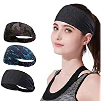 YOMYM 3 Pack Headbands Sports Sweat Band Hairband for Men Women Running, Basketball, Soccer, Tennis, Cycling, Cardio, Gym Exercise, Sports Training Headband
