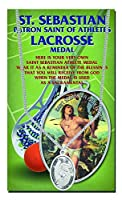 """+ Lacrosseメンズ聖セバスチャン24""""チェーンスポーツMedal Double Side Blessing HERCULESシリーズwith Copyrightedポール・Herbert Blessing"""