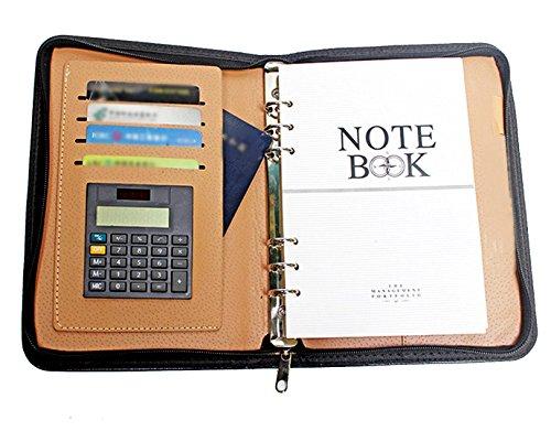 Fairyjp A5ビジネス手帳 クリップボード レディースファスナーメモ帳 計算機搭載名刺入れポケット
