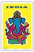 インド - ヒンドゥー教の神ガネーシャ - ビンテージな航空会社のポスター によって作成された ジャン・カルリュ c.1959 - アートポスター - 31cm x 46cm