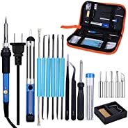 Slowton Electric Soldering Kit, Soldering Accessories, Adjustable Temperature Soldering Iron with 5 Point Tool