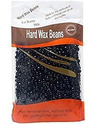 Healifty ワックスビーズ ハードビーンズ ストリップ脱毛 固体 粒タイプ 脱毛 除毛 ハードフィルムワックスペレット 300g(ブラック)