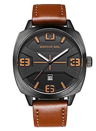 Menton Ezil 腕時計 メンズ 男性 腕時計 防水 腕時計 スポーツ レザーベルト アナログ ファッション ストラップ ミニマリスト クォーツ カジュアル 腕時計 カレンダー 日付 新年の贈り物 ブラウン