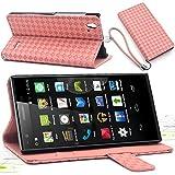 F.G.S ストラッププレゼント ピンク ZTE Blade Vec 4G ケース Vec 4G カバー Vec 4G 手帳 ケース スタンド機能付き カードホルダー付き 全5色 [並行輸入品]