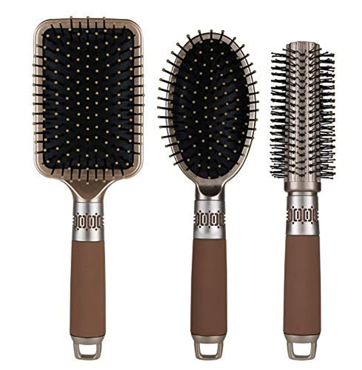 野心晩ごはん髄NVTED 3PCS Hair Combs, Massage Paddle Round Brush Hair Brushes Set Anti Static Detangling Air Cushion Bristle...
