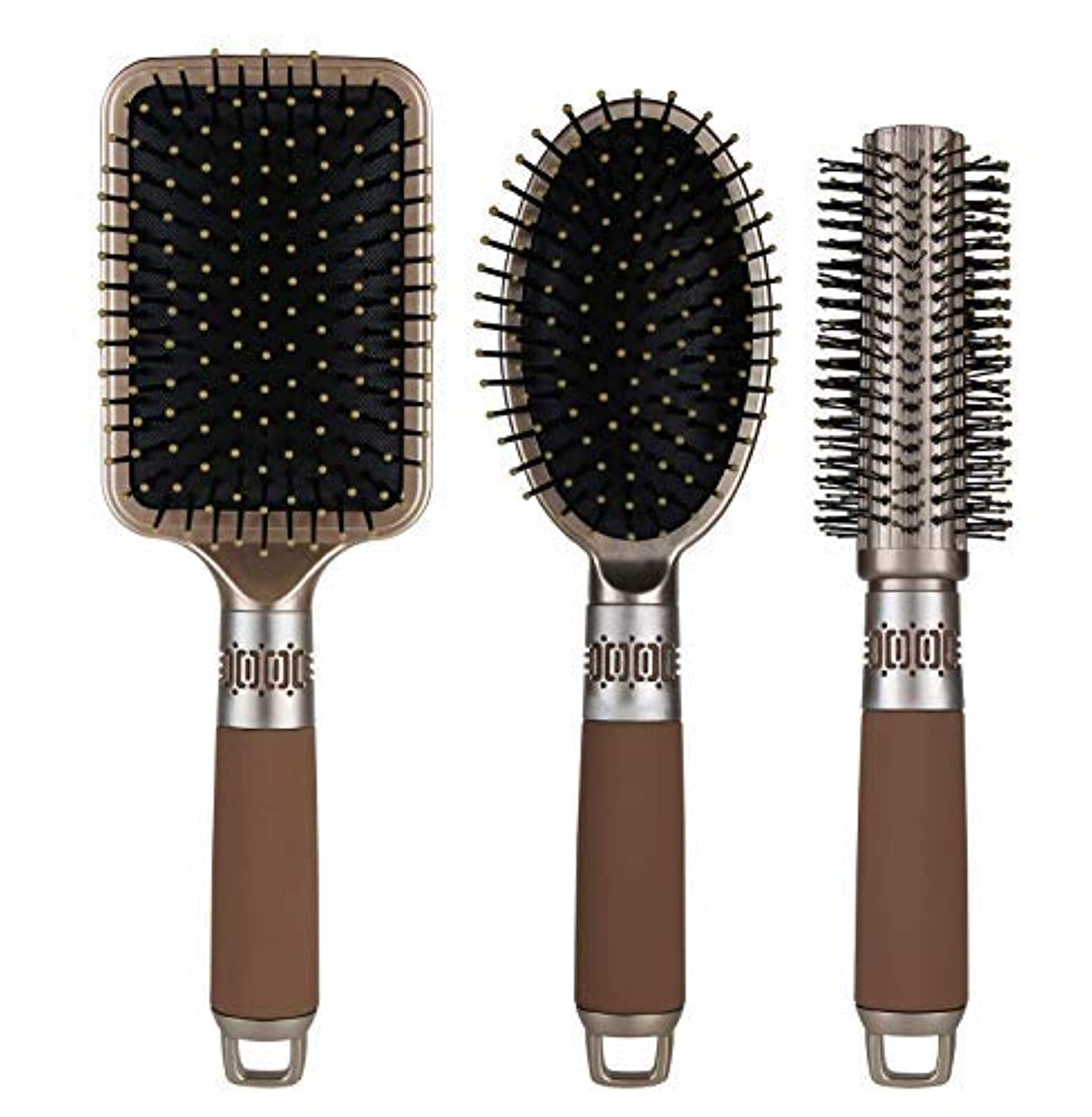 左荒野くしゃくしゃNVTED 3PCS Hair Combs, Massage Paddle Round Brush Hair Brushes Set Anti Static Detangling Air Cushion Bristle...
