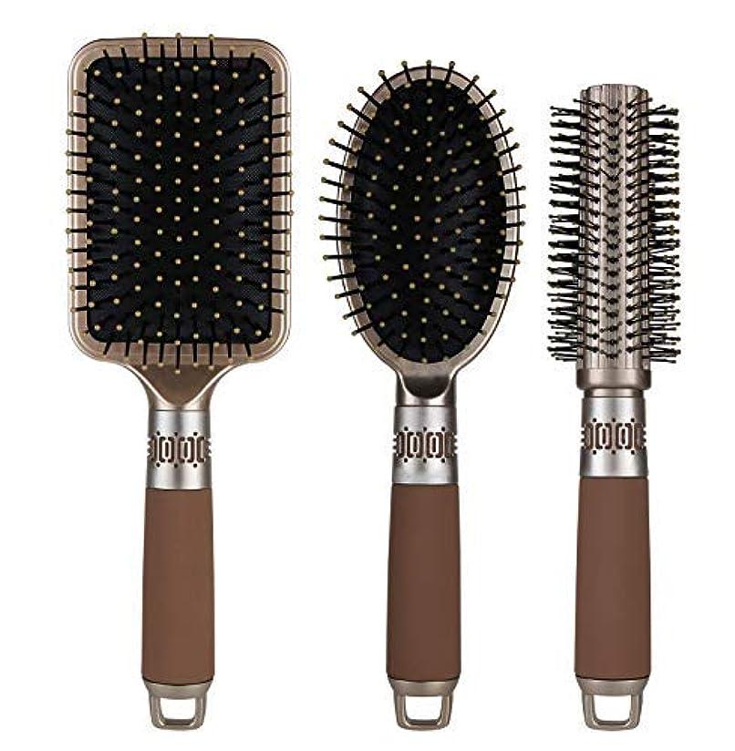 彫刻家暖かさ種をまくNVTED 3PCS Hair Combs, Massage Paddle Round Brush Hair Brushes Set Anti Static Detangling Air Cushion Bristle...