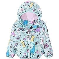 JELLYKIDS Toddler Boy Girl Long Sleeve Unicorn Dinosaur Rainbow Zipper Hoodie Raincoat Jacket Windbreaker