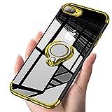 iPhone7plus/8plus ケース リング 透明 磁気カーマウントホルダー スタンド メッキ柔らかい殻 滑り防止 耐衝撃カ 黄変防止 薄くて軽い TPU 全面保護 超耐久 一体型 人気 携帯カバー 防塵 高級なカーボン風 スクラッチ防止