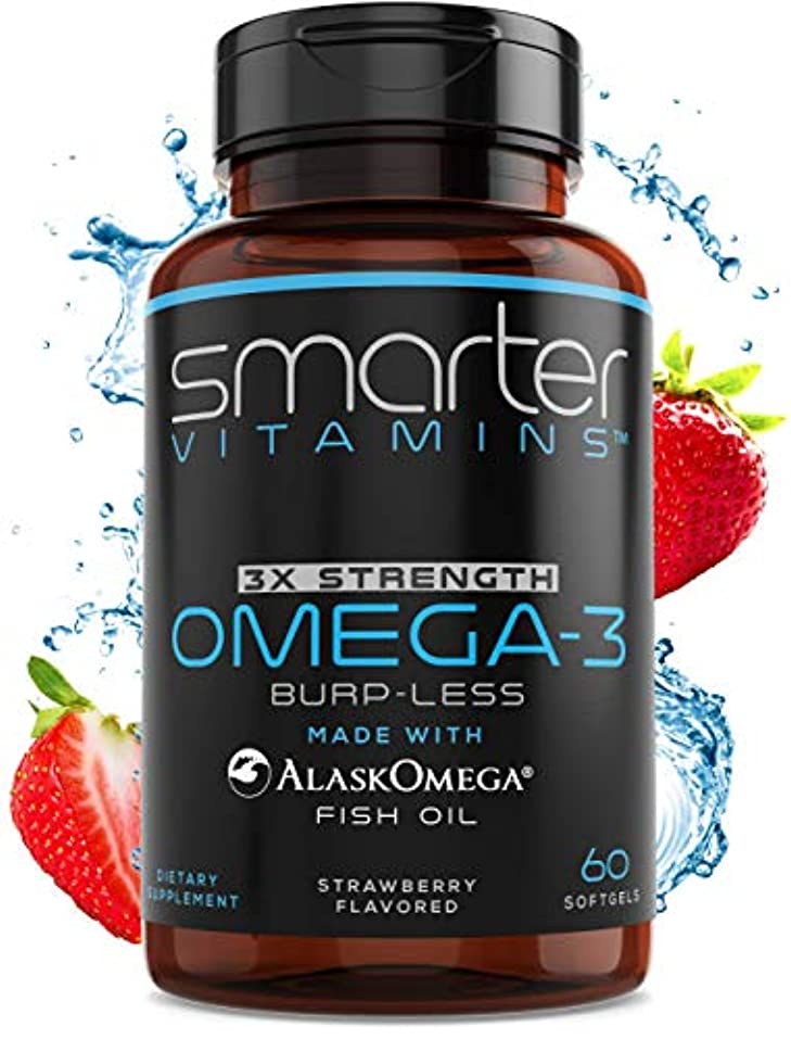 葡萄存在する広まったSmarterVitamins Omega 3 Fish Oil, Strawberry Flavor, Burpless, DHA EPA Triple Strength 60粒